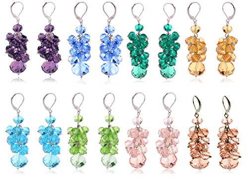 Ginasy Spring Colorful Cluster Crystal Glass Beads Dangle Earrings Beaded Linear Drop Earrings (8 PCS)