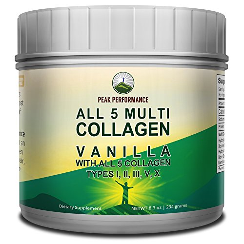 All 5 Multi Collagen Vanilla Protein Powder Peptides by Peak Performance. Contains All Types I, II, III,V, X | Low Carb Keto and Paleo Friendly with Hydrolyzed Bovine, Marine, Chicken, Bone Broth