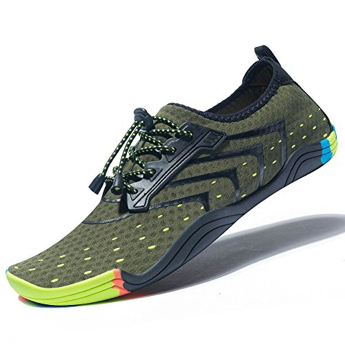 MEET Women Men Unisex Lightweight Water Shoes Quick-Dry Barefoot Flexible Beach Swim Shoes Green 40 by MEET