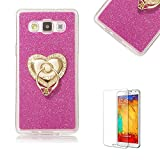 For Samsung Galaxy J3 (2015 Model) [with Free Screen Protector].Funyye Soft Ultra Thin Gel Silicone TPU Shock Proof Durable Scratch Resistant Glitter With Love Hearts Ring Holder Protective Case Cover Skin Shell for Samsung Galaxy J3 (2015 Model)-Rose Red