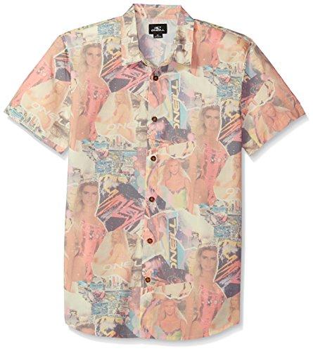 - O'Neill Men's Casual Modern Fit Short Sleeve Woven Button Down Shirt, White/Babewatch, L