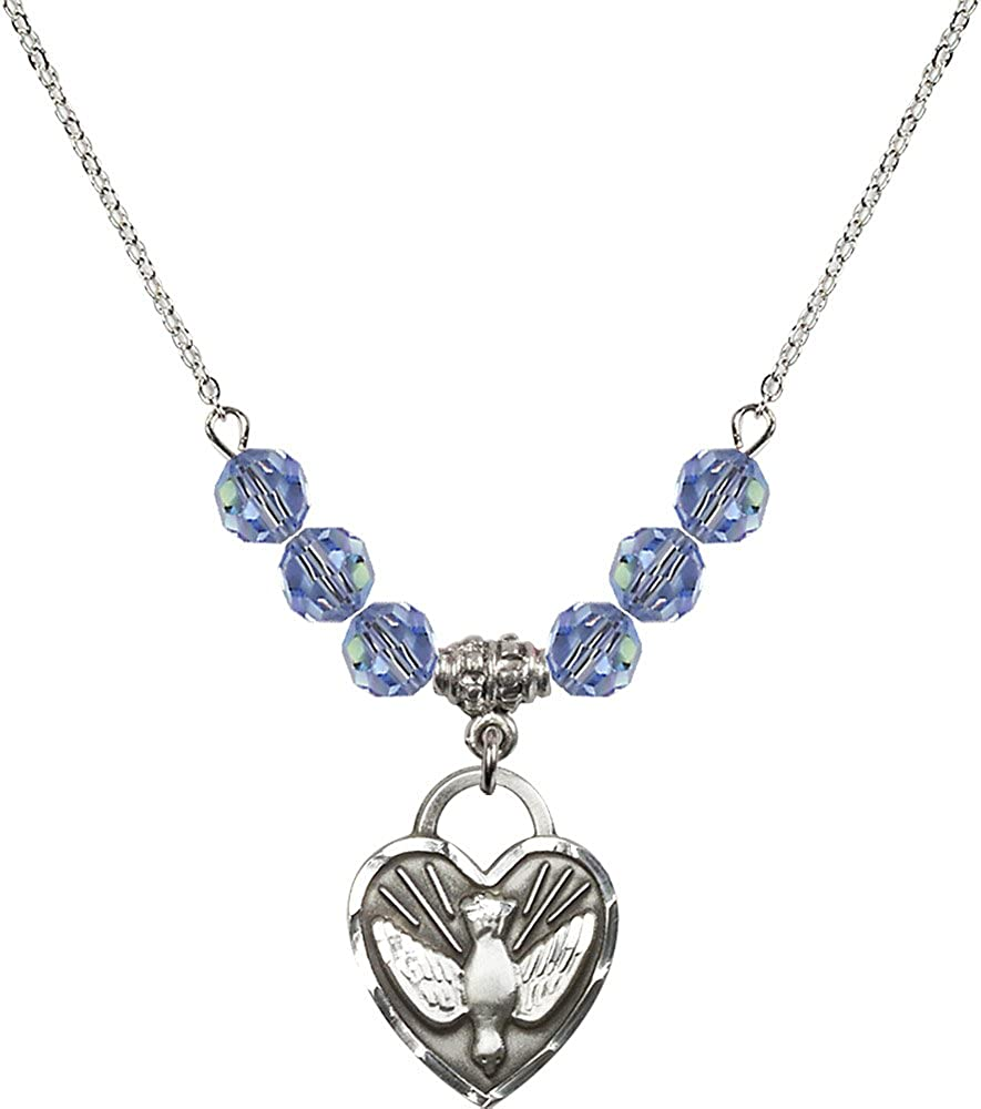 18-Inch Rhodium Plated Necklace with 6mm Light Sapphire Birthstone Beads and Sterling Silver Confirmation Heart Charm.