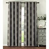 Window Elements  Venice Embroidered Faux Linen Extra Wide 108 x 96 in. Grommet Curtain Panel Pair, Charcoal
