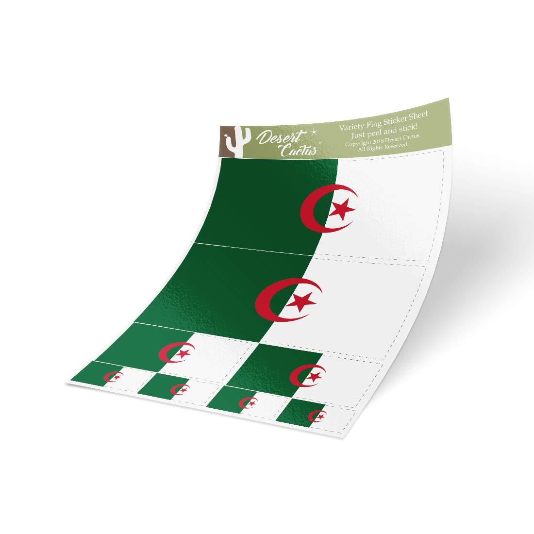 Desert Cactus Algeria Country Flag Sticker Decal Variety Size Pack 8 Total Pieces Kids Logo Scrapbook Car Vinyl Window Bumper Laptop Algerian V
