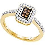 10kt Yellow Gold Womens Round Cognac-brown Colored Diamond Square Cluster Ring 1/4 Cttw = 0.25 (I2-I3 clarity; Brown color)