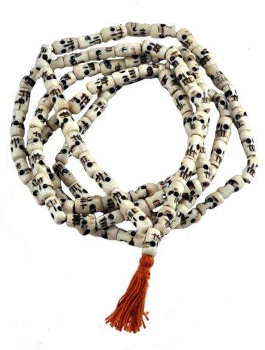 Tibetan Yak Bone 108 Beads Skull Mala Prayer Beads Necklace, Skull Necklace ()