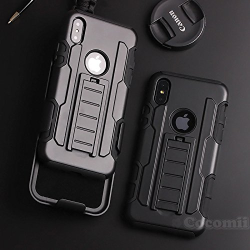 Cocomii Robot Armor iPhone XS/iPhone X Case New [Heavy Duty] Premium Belt Clip Holster Kickstand Shockproof Bumper [Military Defender] Full Body Rugged Cover for Apple iPhone XS/iPhone X (R.Black)