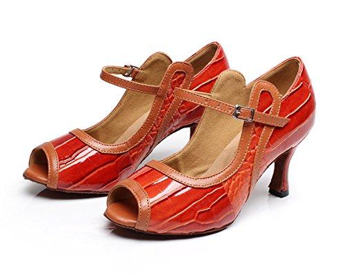 EU37 Para Our38 Red heeled7 Tango Sandalias Mujer Tacones JSHOE Samba Tea Modern Altos Shoes Salsa 5cm Jazz UK5 awnvBqH