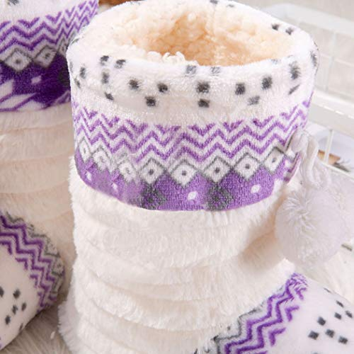 House Shoes for Warm Purple Indoor Women Home Christmas Boots Pattern Slipper Zoylink 0wqT8z