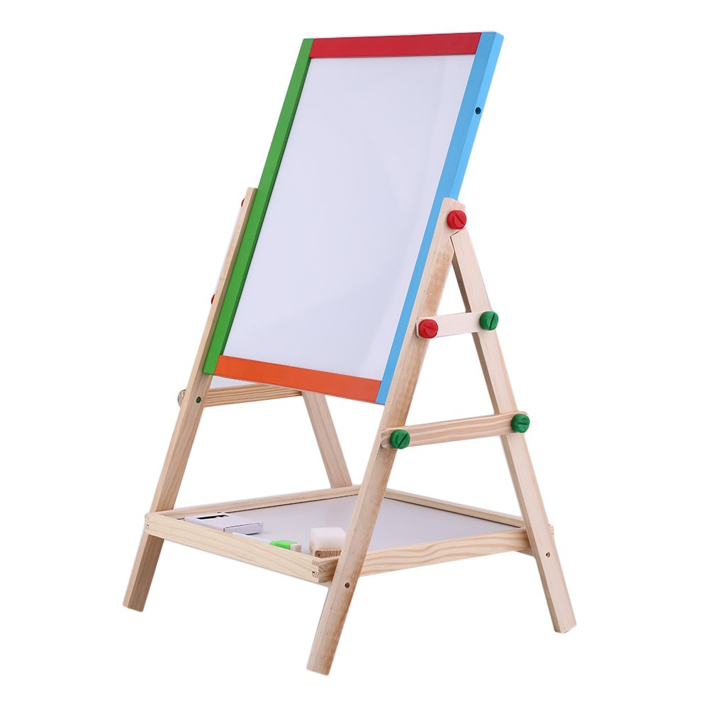 Homgrace Kids Easel, 2 In 1 Kids Standing Art Easel Wooden Chalk Drawing Board Double Side