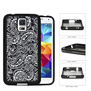 Black and White Bandana Paisley Design Pattern Hard Rubber TPU Phone Case Cover Samsung Galaxy S5 I9600
