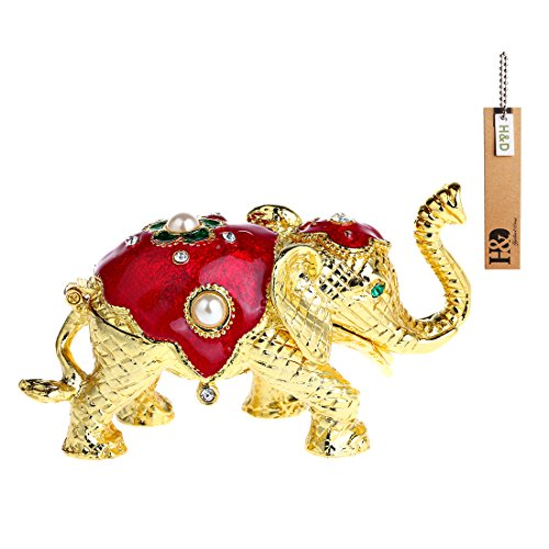 YUFENG Trinket Box Hinged Ring Holder Small Jewelry Bejeweled Trinket Boxes Figurine Collectible Decoration Gift (elephant trinket box) (Small Collectible Boxes)