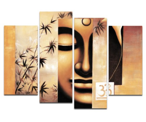 Wieco Art Buddha Canvas Prints Wall Art Giclee Abstract Oil Paintings Reproduction Artwork Ready to Hang for Living Room Home Decorations Large Modern 4 Piece Stretched and Framed Abstract Artwork L
