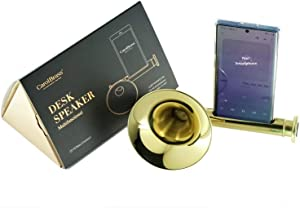 CarolBrass-Phone Stand with Sound amplifier, No Plug Phone Speaker for home, Handmade Brass Phone Holder, Portable speaker, Trumpet Style