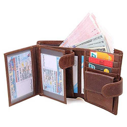 (YSYDE Leather Wallet Mens Genuine Leather Wallet Tri-Fold Blocking Men's Wallets Wallet with Gift Box Anti-Reading and Protection of Data Information in The Card)