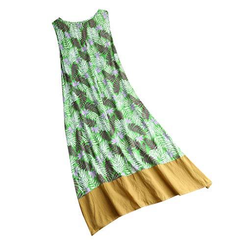 Sunhusing Ladies Summer Bohemian Sleeveless V-Neck Buttons Decor
