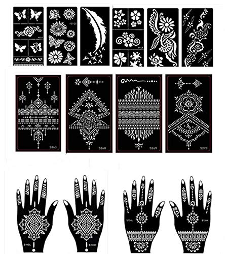 Henna Tattoo Stencil/Temporary Tattoo Temples Set of 14 Sheets,Indian Arabian Tattoo Reusable Stickers Stencils Body Art Designs for Hands Body from DIVAWOO
