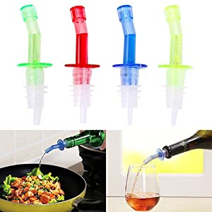 4PCS Bottle Pourer Pour Spout Stopper Liquor PP Oil Vinegar Wine Dispenser Good Pcs Bottle Pourer Pour Spout Stopper Dispenser Liquor Flow Olive Wine Oil Set free shipping