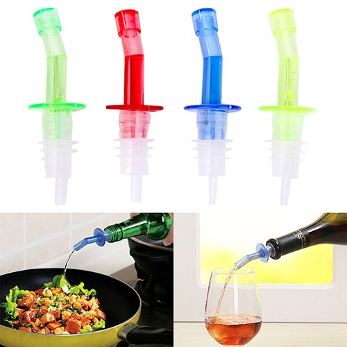 4PCS Bottle Pourer Pour Spout Stopper Liquor PP Oil Vinegar Wine Dispenser (Repellent Quart Bottle)