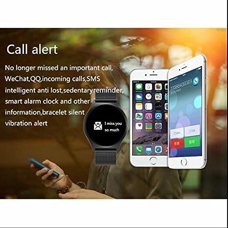 Sports Fitness y pulsómetro, tensiómetro Fitness Reloj de pulsera, SMS Facebook vibración para Android iPhone iOS teléfonos móviles y tablets: Amazon.es: ...