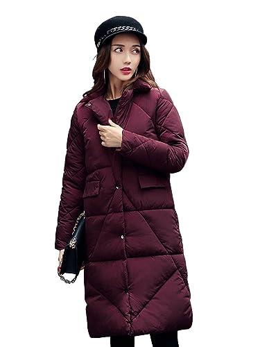 OCHENTA Mujer Abrigos Chaquetas Medio Invierno Casual Vino rojo Etiqueta L-ES 38