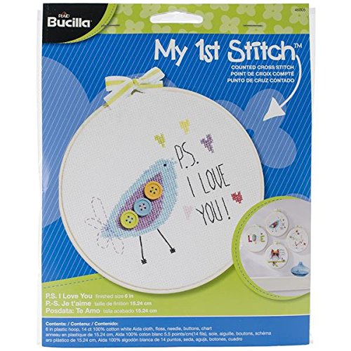 Bucilla My 1st Stitch Counted Cross Stitch Kit, 46005 PS I Love (Learn Love Counted Cross Stitch)