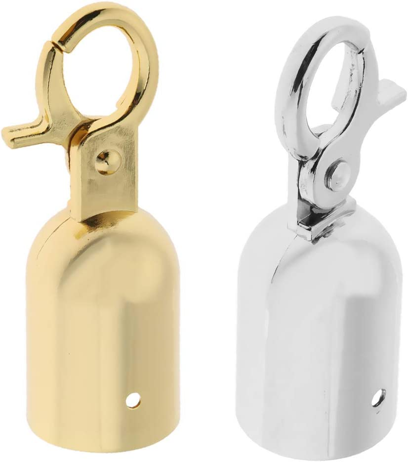 Rope Barrier End Stopper Cord End Caps with Hook 2.5cm Silver//Gold Gold as described