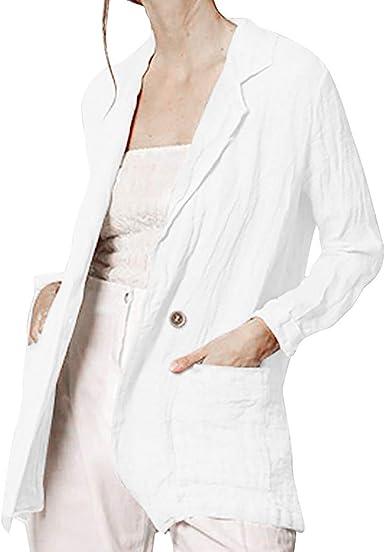 Gusspower Mujer Abrigos Solapa Blazer Manga Larga Suelto Chaqueta con Botón Oficina Negocios Camisa Chaqueta Outwear De Traje Algodón y Lino Primavera Otoño: Amazon.es: Ropa y accesorios