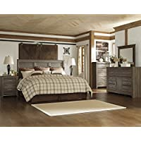 Juararoy Casual Dark Brown Color Replicated rough-sawn oak Bed Room Set, King Panel Headboard, Dresser And Mirror, Two Nightstands