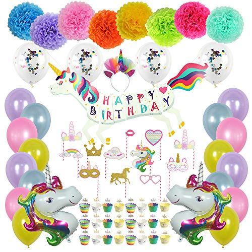 Unicorn Birthday Party Decorations Pack - 92 Pieces - Unicorn Shape Banner, Photo Props, Balloons, Tissue pom poms, Cupcake Wraps and Toppers, Headband, Unicorn Mylar Balloons