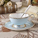 British Red Cup creative ceramic Cup in the afternoon with European style bone China coffee cup and saucer,Powder blue