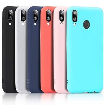 Wanxideng - 6X Funda para Samsung Galaxy A20e, Carcasa en Silicona - [ Negro + Blanco + Rojo+ Rosado+ Menta Verde + Azul Claro ]