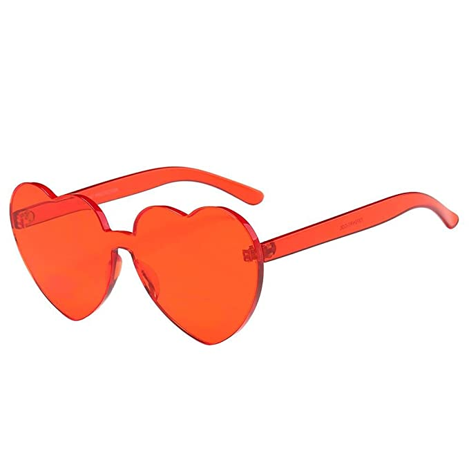 Perman Fashion Womens Sunglasses, Rimless Frame Heart-shaped Candy Colored Integrated UV Plastic Sunglasses