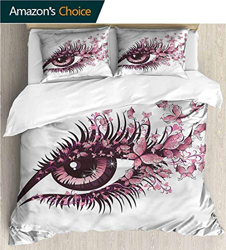Home Duvet Cover Set,Box Stitched,Soft,Breathable,Hypoallergenic,Fade Resistant Print Quilt Cover Set White Queen Pattern Bedding Collection-Butterflies Fairy Woman Eyelashes (87