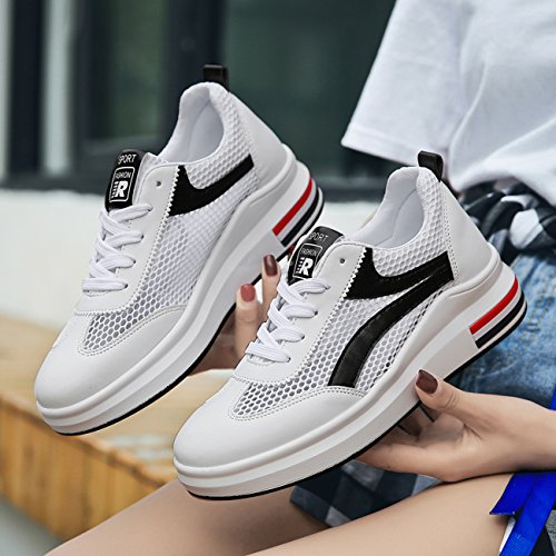 Respirant NEWCOLOR De Casual Lacets Femmes Sneakers Chaussures Marche Augmentation Mode Creux 0Twn0Xr