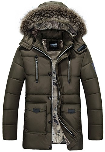 Fur Jacket Removable WS668 Long Multi Pocket Multi Winter Function Warm Collar Brown Hooded Cotton Polyester Sleeves Mens Coat EwgwqF