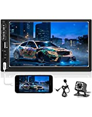 Hikity Double Din Car Stereo 7 Inch Upgrade Touch Screen Car Radio Bluetooth FM Mirror Link Dual USB/AUX-in/SD Card/RCA Port, Steering Wheel Remote Control Backup Camera & External Microphone