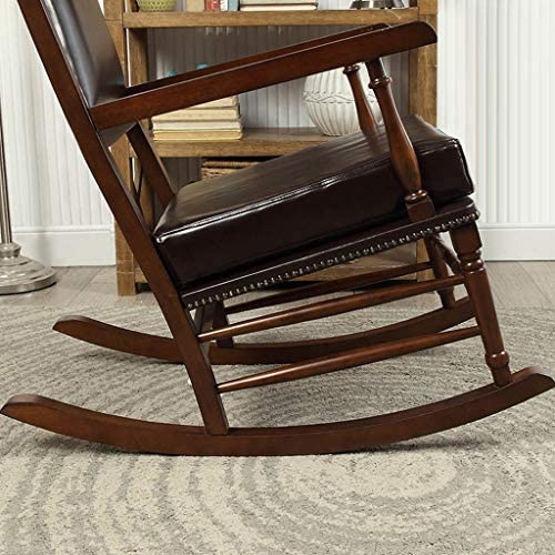YYAPT-Y Vintage Solid Wood Rocking Chair, Leather Single Sofa Terrace Leisure Armchair 605-YY