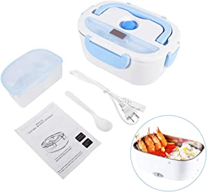 Electric Lunch Box Food Heater, 110V 1.5L for Work Office School, 304 Stainless Steel Portable Food Warmer Lunch Box, Spoon Included