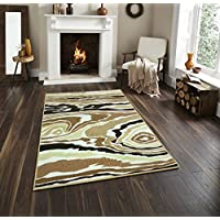 Adgo Collection Contemporary Mediterranean Ethnic Traditional Design Rubber-Backed Non-Slip Non-Skid Area Rugs, Brown, Beige Multi Color, 5 x 7