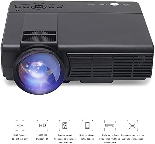 QLPP Mini proyector, Full HD 1080P y 150 Pantalla apoyado ...