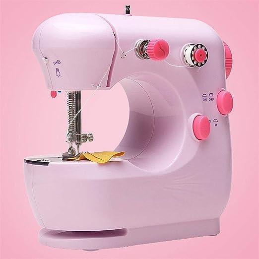 Máquina de coser electrónica, Mini máquina de coser portátil, 2 Velocidades, con Luz de LED, pedal, para Ropa, Fundas de Almohadas, Sábanas, fácil de usar para principiantes,Pink: Amazon.es: Hogar