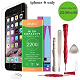 JEMESI Battery With Repair Tool Kits & Instruction and Screen Protector for Model IP 6 - Full 2200 mAh 0 Cycle [365 DAYS Warranty]