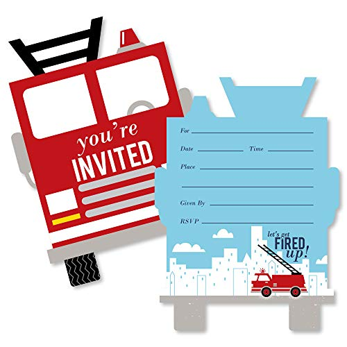 Fired Up Fire Truck - Shaped Fill-in Invitations - Firefighter Firetruck Baby Shower or Birthday Party Invitation Cards with Envelopes - Set of 12 ()