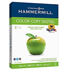Hammermill Paper, Color Copy Digital, 32 lb, 8.5 x 11 Inch, Letter, 100 Bright, 500 Sheets /1 Ream (102630), Made in the USA