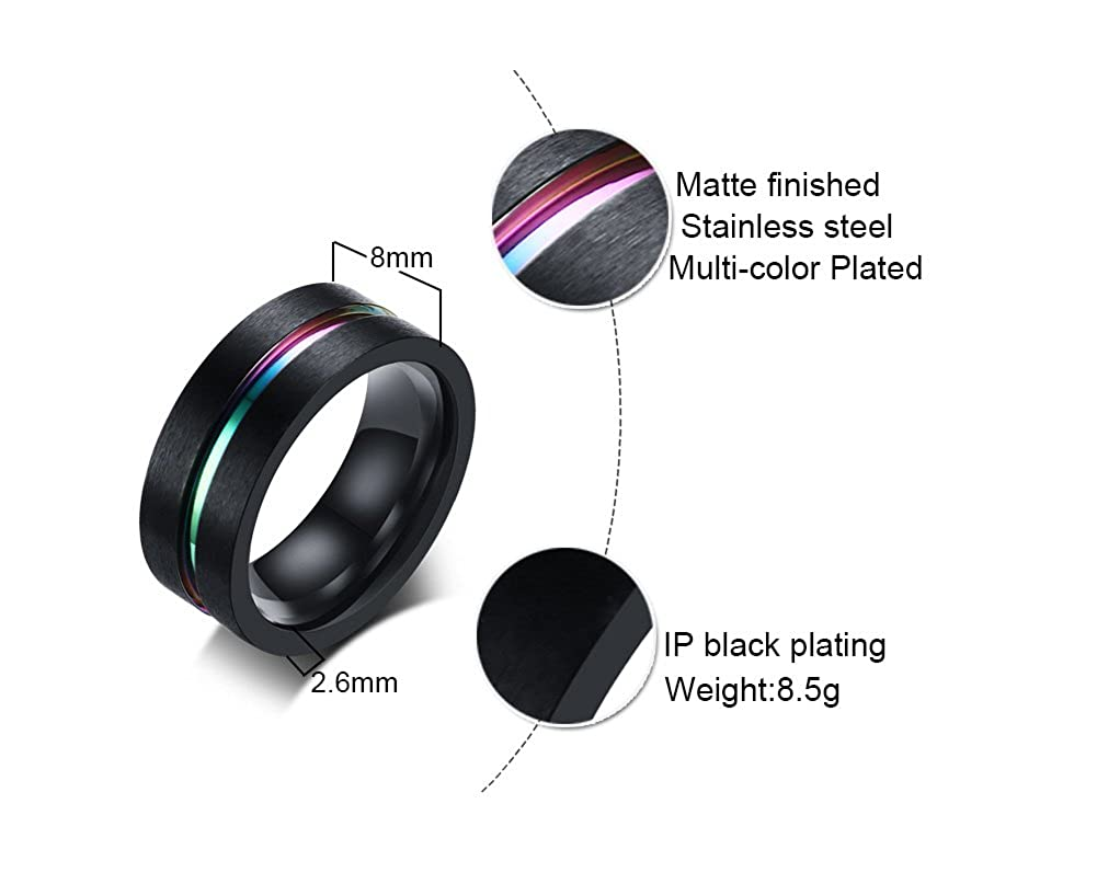 Mealguet Jewelry Personalized Engraved Black Brushed Rainbow Groove Stainless Steel Wedding Band Engagement Ring for Men
