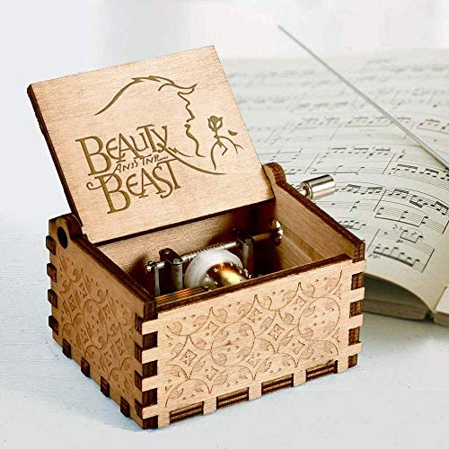 mrwinder Beauty and The Beast Music Box, Vintage Classic Wood Hand Crank Carved Best Gift for Kids, Boys, Girls, Friends