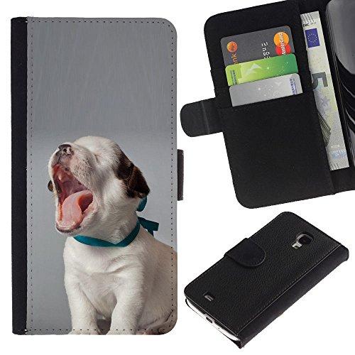 EuroCase - Samsung Galaxy S4 Mini i9190 MINI VERSION! - puppy yawning beagle baby canine dog - Cuero PU Delgado caso cubierta Shell Armor Funda Case Cover