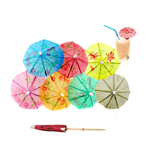 Colorful Cocktails (144 Pcs Colorful Cocktail Drink Paper Umbrellas Picks - 4 Inch Length - Tropical Cocktail Parasols for Cupcake Hawaiian Party and Pool Party Supplies (A#))