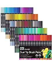 Colouring Marker Pens, Dual Tip Brush Pens Art Markers Fineliner Water Color Drawing Pens